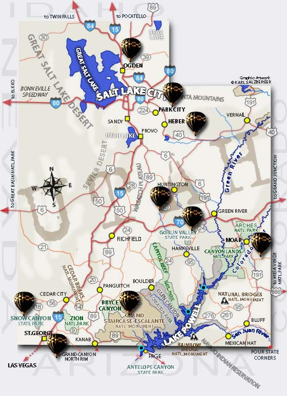 Utah Hot Air Ballooning Map All Our Locations On A Utah Map